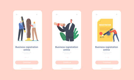 Business Registration Online Mobile App Page Onboard Screen Template. Tiny Characters Signing Huge Paper Document Stock Illustratie