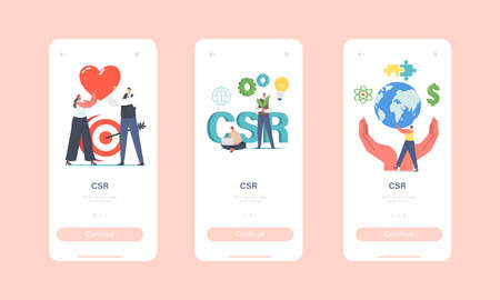 Csr, Corporate Social Responsibility Mobile App Page Onboard Screen Template. Characters Ethical and Honest Business