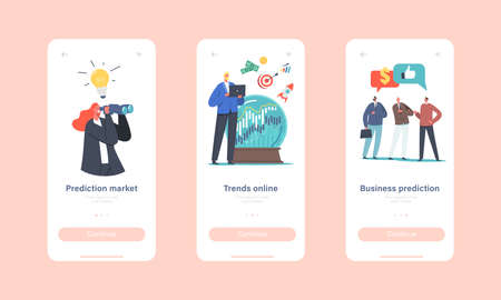 Business Prediction, Forecast Trends Mobile App Page Onboard Screen Template. Tiny Business Characters at Crystal Globe Stock Illustratie