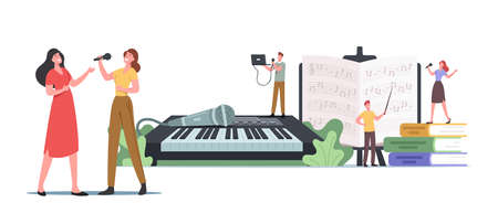Tiny Characters at Huge Synthesizer Take Musical Vocal Lessons Training Voice and Singing Songs. People Develop Talent