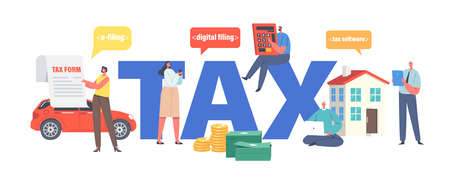 Tax Payment Concept. Characters Filling Application for Tax Form.