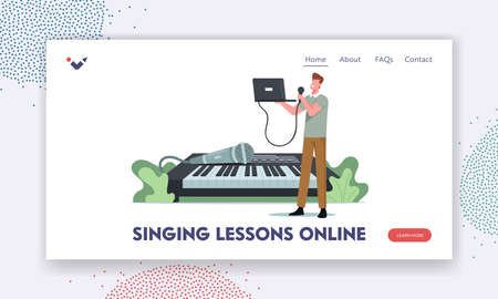 Singing Lessons Online Landing Page Template. Tiny Male Character Sing with Microphone and Laptop at Huge Synthesizer. Vocalist Vocal Classes Training Voice Singing Songs. Cartoon Vector Illustration