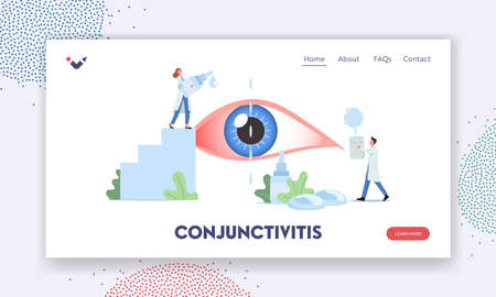 Conjunctivitis Landing Page Template. Tiny Doctors Characters Dripping Drops in Huge Human Eye Suffering of DES