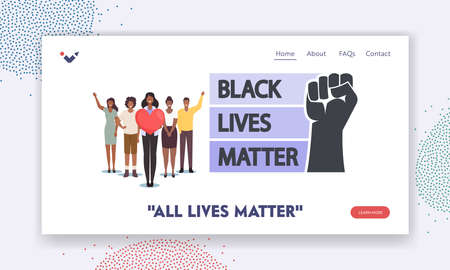 Black Lives Matter Landing Page Template. Black Characters with Heart and Raised Hands Together. Equality Campaign