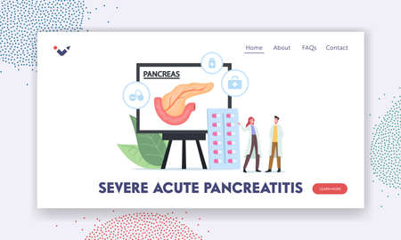 Serve Acute Pancreatitis Landing Page Template. Tiny Doctor Characters in Medical Robe Look on Huge Infographics