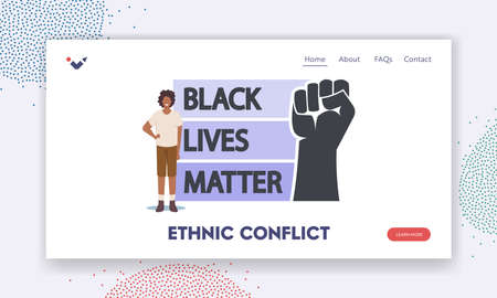 Ethnic Conflict Landing Page Template. African Character With Black Lives Matter Sign with Raised Hand. Protest
