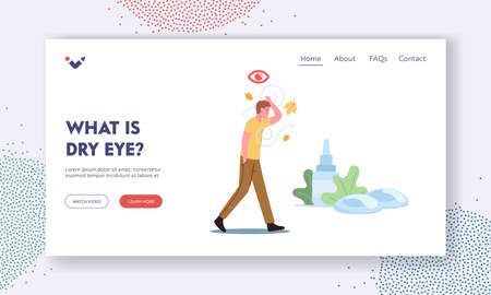DES Medical and Pharmaceutical Landing Page Template. Character Walk Outdoor Suffering of Dry Eyes Syndrome Stock Illustratie
