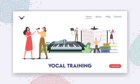 Vocal Training Landing Page Template. Characters Take Musical Lessons Voice and Singing Songs. People Developing Talent