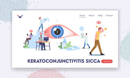 Keratoconjunctivitis Sicca Landing Page Template. Tiny Characters around of Huge Eye. People Suffer of DES, Visit Clinic Stock Illustratie