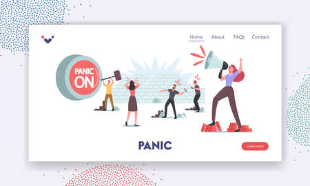 Panic, Violence, Aggressive Behavior Landing Page Template. Male Characters Throw Stones, Woman Yell to Loudspeaker