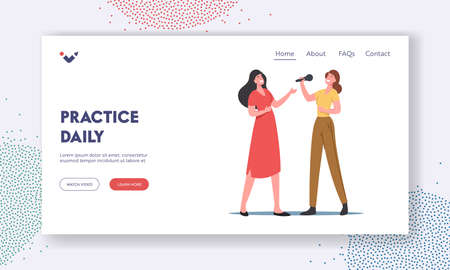 Vocal Lessons Landing Page Template. Female Characters Sing with Microphones, Training Voice or Singing Songs in Karaoke