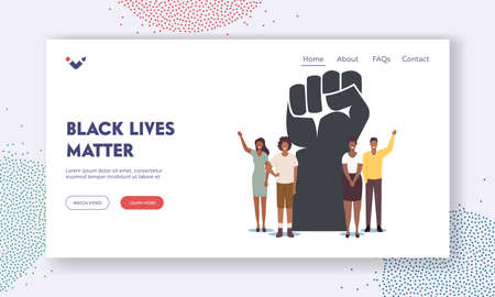 Black Lives Matter, Blm Landing Page Template. Tiny Black Characters around of Huge Raised Hand. Equality Campaign