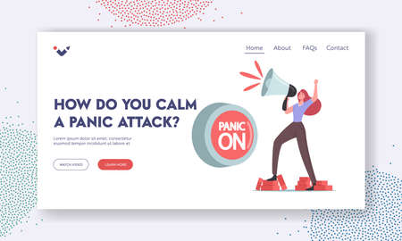 Panic Attack Landing Page Template. Tiny Female Character Yell to Loudspeaker at Huge Button Panic On. Mental Disorder