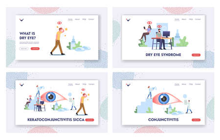 Dry Eye Symtoms Landing Page Template Set. Tiny Characters around of Huge Eye. People Suffer of DES, Visit Clinic