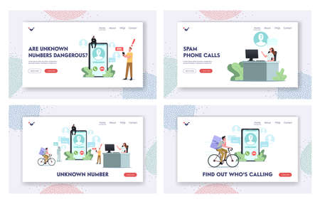 Unknown Number Landing Page Template Set. Tiny Characters around of Huge Smartphone Take Call from Cheater, Call Service