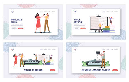 Vocal Training Landing Page Template Set. Characters Take Musical Lessons Voice and Singing Songs. People Develop Talent