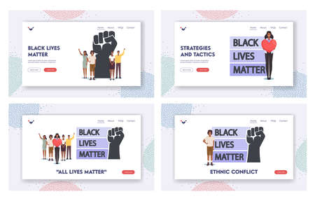Black Lives Matter Landing Page Template Set. Black Characters with Heart and Raised Hands. Equality Campaign Stock Illustratie