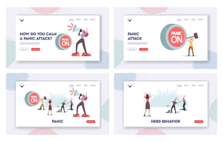 Panic, Violence, Aggressive Behavior Landing Page Template Set. Characters Throw Stones, Woman Yell to Loudspeaker