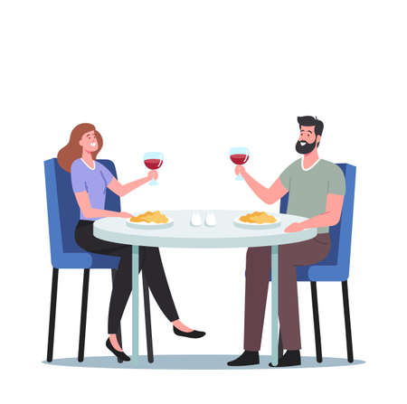 Romantic Relations, Meeting. Happy Loving Couple of Male and Female Characters Dating in Restaurant. Declaration of Love Ilustração