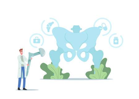 Arthroplasty, Osteoarthritis Disease, Hip Replacement Concept. Tiny Doctor Character Holding Huge Hip Prosthesis Implant Ilustração