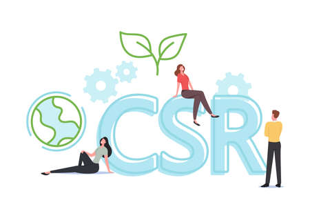 Csr, Corporate Social Responsibility, Tiny Characters. Ethical and Honest Business Strategy for Sustainable Management Ilustração