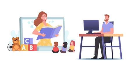 Virtual Baby Sitter, Online Babysitting Service, Remote Teaching Concept. Female Nanny Character Entertaining Kids