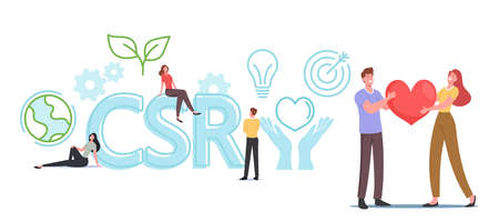 Csr, Corporate Social Responsibility Business Concept. Characters with Heart in Hands, Businessman, Earth Globe, Plant