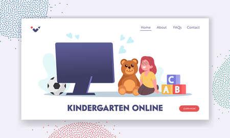 Online Kindergarten Landing Page Template. Baby Listen Virtual Sitter, Online Babysitting Service, Kids Remote Teaching