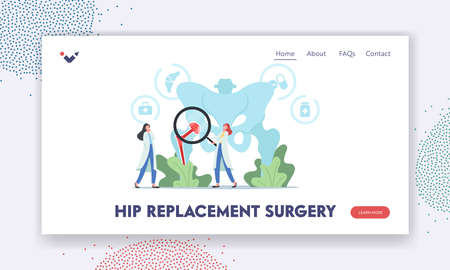 Hip Replacement Surgery, Arthroplasty Landing Page Template. Tiny Doctors Characters with Magnifier at Huge Pelvic Bones