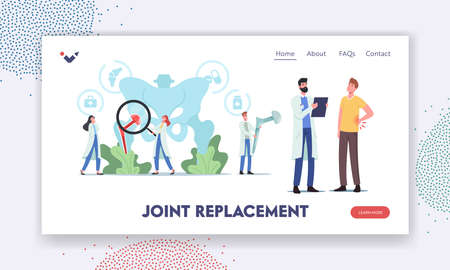 Arthoplasty, Osteoarthritis, Hip Joint Replacement Landing Page Template. Tiny Characters at Huge Human Pelvic Bones