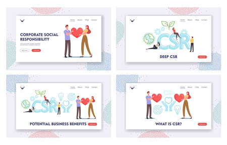Csr Landing Page Template Set. Corporate Responsibility, Social Citizenship. Tiny Businesspeople Characters Hold Heart