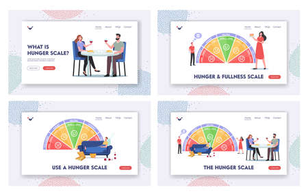 Hunger Scale Landing Page Template Set. Characters Starving, Ravenous, Growling, Hungry. Neutral, Satisfied, Full