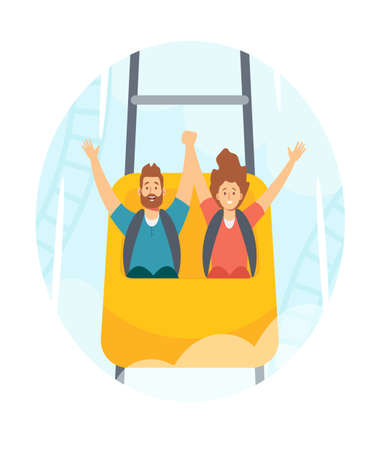 Family Characters Man and Woman Riding Roller Coaster in Amusement Park, Fun Fair Carnival Weekend Activity, Leisure Иллюстрация