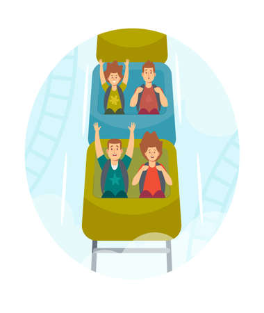 Happy Kids Characters Riding Roller Coaster in Amusement Park. Excited Boys and Girls Having Fun at Rollercoaster Car