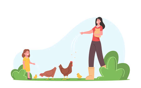 Young Mother with Little Daughter Feeding Fowl on Farm. Farmers Family or Villagers Work. Mom and Girl Care of Birds