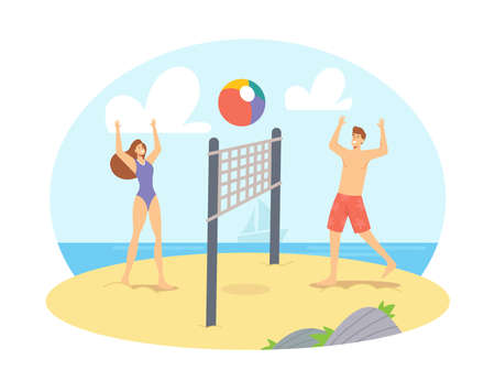 Young Couple Playing Beach Volleyball on Sea Shore Throw Ball to Each Other. Happy Family Wife and Husband Leisure