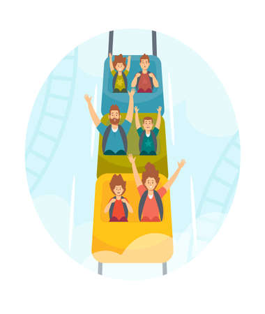 Mother, Father and Kids Characters Riding Roller Coaster, Family Extreme Recreation in Amusement Park, Fun Fair Carnival Иллюстрация