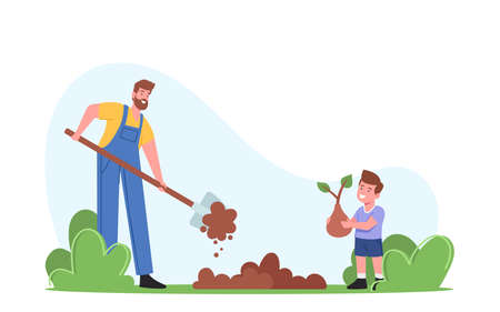 Farmers or Cottagers Working in Garden. Father Digging Soil, Son Planting Sprout to Ground, Family Care of Trees