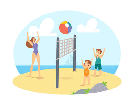 Family Leisure, Vacation. Mother and Children Playing Beach Volleyball on Sea Shore. Happy Characters Summer Competition