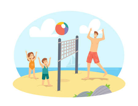 Father and Children Playing Beach Volleyball on Sea Shore. Happy Family Vacation Leisure. Characters Dad and Kids Game