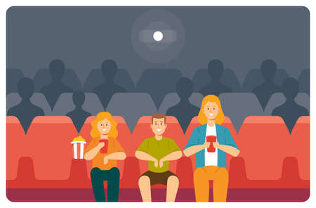 Young Mother, Daughter and Son Enjoying Film at Movie Theatre. Happy Family Watching Movie at Cinema Eating Pop Corn