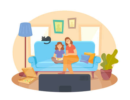 Mother and Little Daughter with Pizza and Cat Sitting on Sofa Watching Movie. Home Cinema Concept with Happy Family Иллюстрация