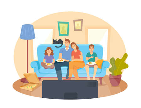 Home Cinema Concept. Happy Family Watching TV and Eating Pizza, Kids and Parents Characters Sitting on Couch in Weekend
