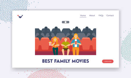 Best Family Movies Landing Page Template. Young Mother, Daughter and Son Enjoying Film at Movie Theatre. Happy Family