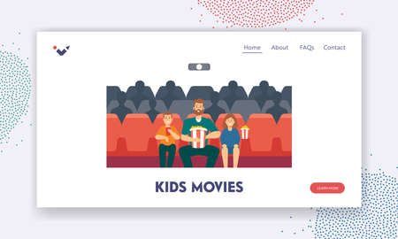 Kids Movies Landing Page Template. Dad with Children in Movie Theater. Father, Daughter and Son Enjoying Film in Cinema Иллюстрация