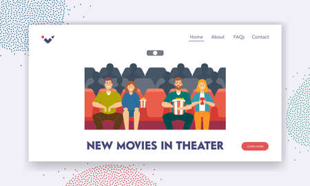 New Movies in Cinema Landing Page Template. Happy Young Couples Characters Watching Movie. Young Men and Women Relax