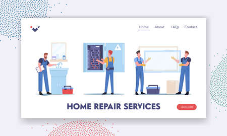 Home Repair Services Landing Page Template. Handyman Fixing Sink in Bathroom, Workers Characters Install Window