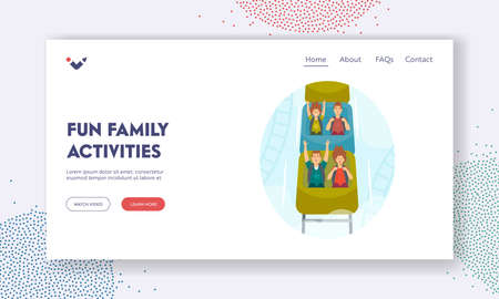 Fun Family Activities Landing Page Template. Happy Kids Characters Riding Roller Coaster in Amusement Park on Weekend