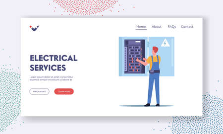 Electrical Services Landing Page Template. Energy and Electrical Safety. Electrician Character Examine Working Draft