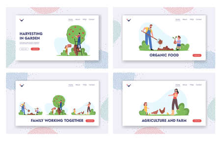 Family Working on Farm Landing Page Template Set. Parents and Kids Gardening Work, Planting Trees, Harvesting Crop